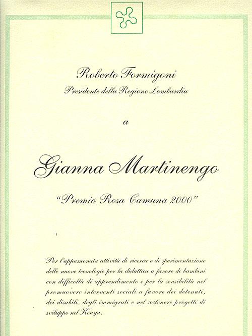 Premio Rosa Camuna - Regione Lombardia (2000)